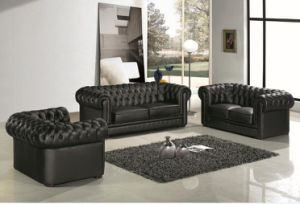 Black Modern Chesterfield Leather Sofa For Living Room Furniture