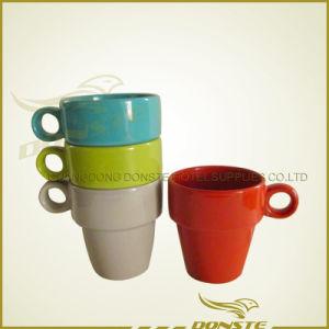 Ceramic Coffee Mugs Stackable With Rack Two Handle Mug