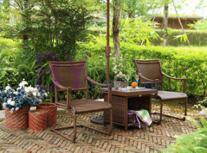 Villa Outdoor Hand-Weaving PE Rattan Spring Chair Furniture
