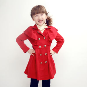 Hot Sale Spring and Autumn Little Girls Red Wind Coat