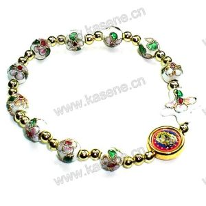 White Cloisonne Beads with Gold Alloy Wafer Fashion Bracelet