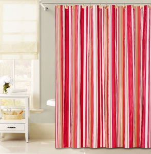 Red Vertical Stripe Design PEVA Shower Curtain For Bathroom
