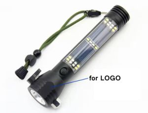 Multi-Functional 2W 10-LED Solar Torch Escape Rescue Flashlight with 2000mAh Powerbank Lh-St1648