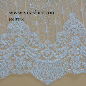1.4m Rayon Cording Lace Fabric in Silver Strands for Wedding Accessories Fs-3128