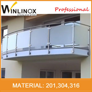 China Frameless Tempered Mirror Stainless Steel Glass Balcony