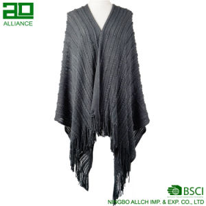 Fashion Women Winter Grey Woven Shawls Elegant Capes