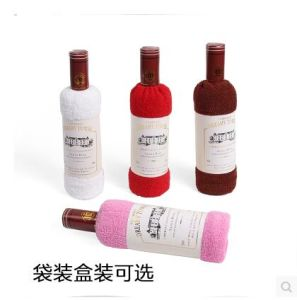 China Wholesale Cotton Red Wine Cake Towel For Wedding Door Gift