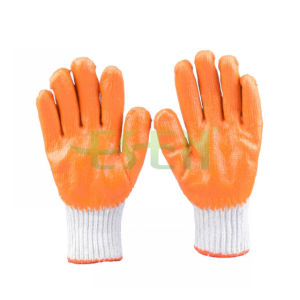 Hot Sale Gardening Glove Safety Grip Good Quality Latex Palm Coated Cotton Work Glove (D14-H1)