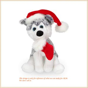 Christmas Plush Puppet Dog Stuffed Doll Toy 8 Inches for Babies