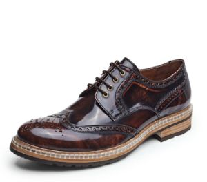 9d9b81c7663 China Handmade Mens Black Patent Leather Shoes Striped Men Wedding ...