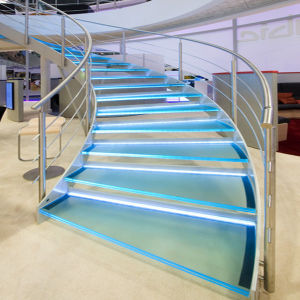 Glass Curved Staircase with Stainless Steel Railing pictures & photos