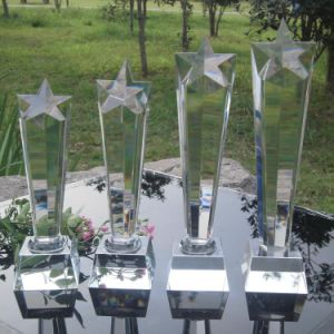 K9 Material Crystal Five Column Trophy Awards for Celebration pictures & photos