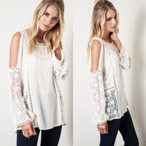 3086f1f9bfd571 China USA Ivory Bohemian Lace Crochet Cold Shoulder Long Bell Sleeve ...