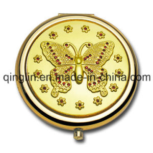 Custom Delicate Butterfly Embossed Gold Plated Metal Gift Mirror (QL-HZJ-0023)