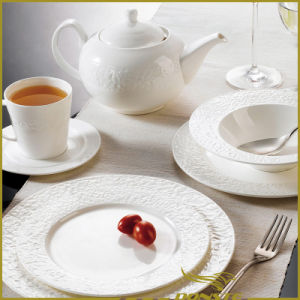 7 PCS White Porcelain Western Dinner Set Stone Lines