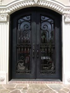 Modern Design Double Wrought Iron Safety Arch Door pictures & photos