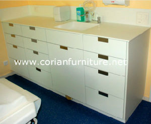 Clear Corian Solid Surface Hospital Doctor Office Cabinets