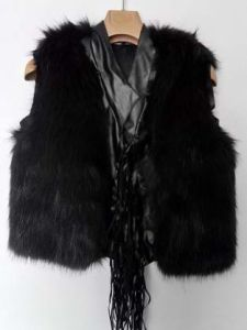Fashion Fur Vest for Lady, Fake Fur, Black, V Neck