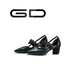Factory New Design of Fashion Point Toe Low Heel Women Office Sandals