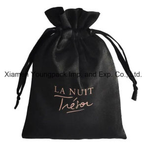 Fashion Luxury Personalized Printed Black Satin Drawstring Pouch pictures & photos