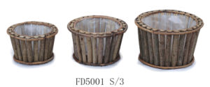 Manufacturer Popular Natural Round Wooden Flower Pot for Home and Garden Decoration
