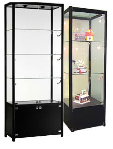 Free Standing Glass Display Cabinet With LED Light U0026 Lock