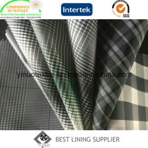 100% Polyester Men′s Jacket Lining Fabric Check Lining pictures & photos