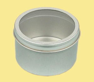 Silvery Round Tin Storage Box with PVC Window-Nc2004