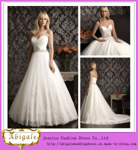 New Designer A Line Sweetheart Low Back Lace Bodice Big Tulle Skirt Gown Wedding Dress 2014 (MN1182)