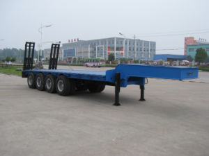 3 Axle Low Bed Semi Trailer with Payload 60ton pictures & photos