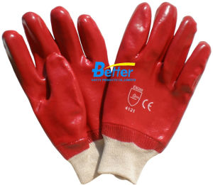 Cotton Interlock Lining PVC Chemical Resistant Work Glove (BGPC102)