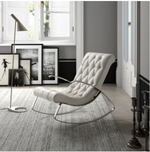 Modern Simple Design Metal Frame Leather Chair For Sale (LC015)