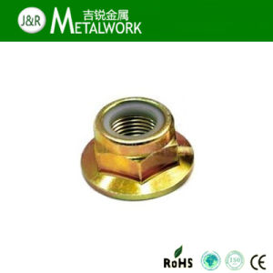 Yellow Zinc Plated Steel Nylon Insert Hex Flange Lock Nut pictures & photos