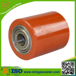 85X90mm Double Ball Bearing Polyurethane Tread Steel Roller Wheel pictures & photos