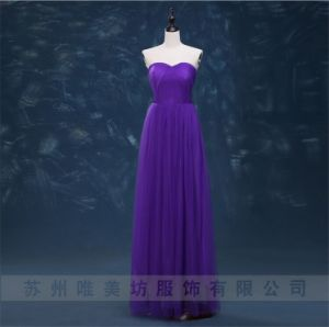 D1177 A-Line Chiffon Evening Dresses with Mesh Tulle Bridesmaid Gown pictures & photos