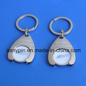 Custom Metal Silver 2 Euro Shopping Cart Trolley Coin Key Chain with Holder pictures & photos