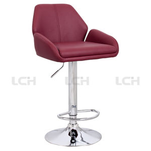 Modern Italian Leather Counter Chair with Aluminium Alloy Basement