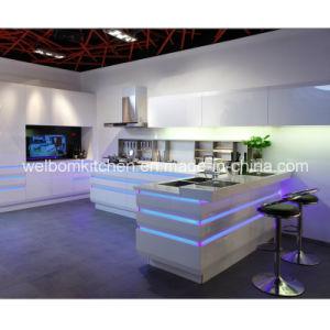 Welbom Modern White High Gloss Kitchen Furniture Kithcen Cabinet With Island