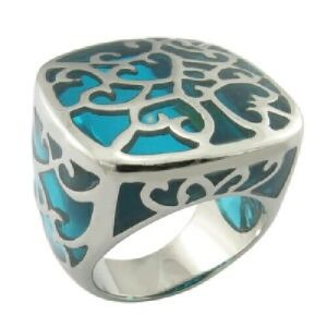 Fashion Jewelry Epoxy Blue Stainless Steel Ring pictures & photos