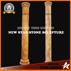 Outdoor Simple Design Desert Gold Marble Carving Pillars and Columns pictures & photos