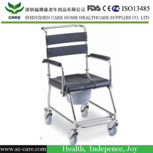 Folding Commode Chair with Wheels, Hospital Commode Chair