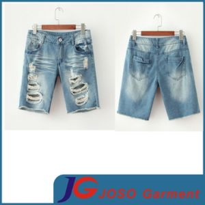 Ripped Broken Whisker Wash Women Jean Five Pants (JC6098) pictures & photos