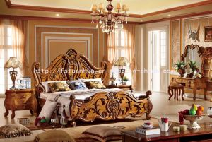 Top Quality European Teak Wood Double Bed Model Designs (TH-516)