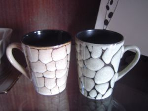 Stoneware Mug with Texture Painted Mug