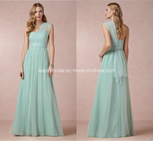 One Shoulder Prom Evening Gowns Pleated Tulle A-Line Bridesmaid Dresses Z5089 pictures & photos