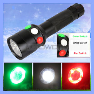 10W 18650 CREE Q5 7 Model LED Tactical Police Flashlight 3 Color Signal Lifesaving Torch pictures & photos