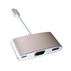 USB Type-C Into USB3.0 Pd VGA for MacBook Projector Type C Adapter pictures & photos