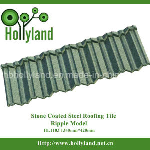 Zinc-Aluminium Steel Material Stone Coated Steel Roofing Tile (Ripple Type) pictures & photos