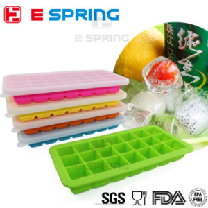 21 Slots Silicone Ice Cube Tray with Lid Food Freezer Container