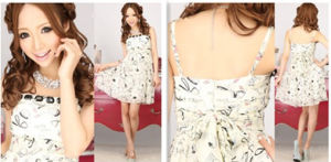 Lace up Print Strapless a-Line Chiffon Party Prom Dresses (TK 06332)